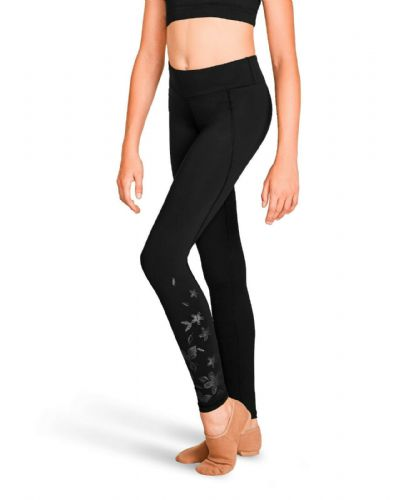Bloch Girls Full Length Dance Leggings Black with Metallic Floral Print FP5219C